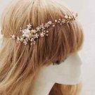 Bridal Wedding Rhinestone Crystal Gold Silver Pearl Hair Forehead Band Tiara