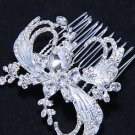 Lot Of 4 Feather Wing Style Bridal Wedding Silver Rhinestone Crystal Hair Comb