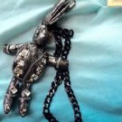 Punk Rabbit Silver Grey Soft Plush Handbag Keychain Toy Doll Chain Necklace