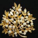 VINTAGE GOLD RHINESTONE CRYSTAL WEDDING PEARL CRAFT TREE LEAVES BROOCH PIN