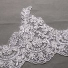 Bridal Wedding Off White Embroidered Lace Beaded Pearl Trim Veil trim Per Yard