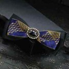 Yellow Blue Black Polyester Pre Tied Wedding Diamond Checks Neck Bow Tie - CA