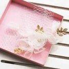 Wedding Bridal Cream Gold Flower Faux Pearl Leaf Hair Birdcage Veil Clip