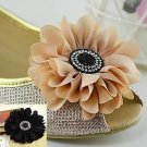 A Pair Black Nude Black Chiffon Daisy Flower Wedding Bridal Shoe Clips