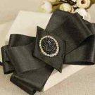 Shiny Gold Black Tuxedo Ribbon Bow Tie Neck Tie Pre-Tied Adjustable Brooch Clip