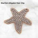 Beach Sea Star Starfish Crystal Rhinestone Wedding Rose Gold Applique Hair Clip