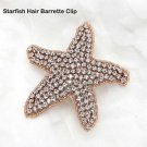 Beach Sea Star Starfish Crystal Rhinestone Wedding Rose Gold Hair Barrette Clip