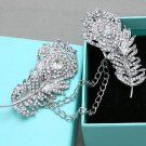 Feather Rhinsetone Crystal Wedding Bridal Corsage Brooch Pin Sweater Body Chain