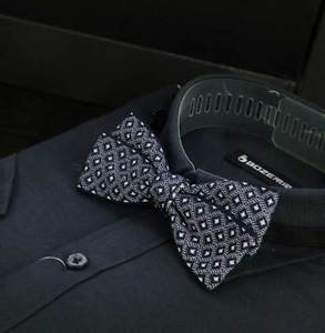 Mens Party Blue Checks Pre Tired Bow Tie Adjustable Polyester Bowtie Necktie