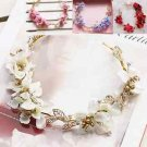 Christmas Bridal Wedding Flower Gold Tone Holo Hair Tiara Headpiece Accessories