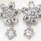 Wedding Jewelry Flower Dangle Rhinestone Crystal Stud Earrings