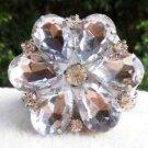 Sparkling Acrylic Crystal Wedding Flower Bridal Clear Tone Shoe Clips Pair
