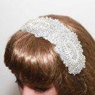 Bridal Wedding Beaded Rhinestone Crystal Applique Hair Comb Clip Ribbon Headband