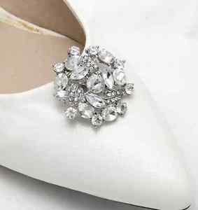 A Pair Floral Rhinestone Crystal Wedding Bridal Shoe Clips