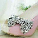 Black Base -Glass Stone Crystal Silver Wedding Bridal Bow Ribbon Shoe Clips Pair