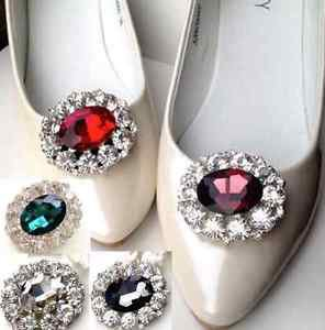 A Pair Red Purple Black Green Oval Rhinestone Crystal Wedding Bridal Shoe Clips