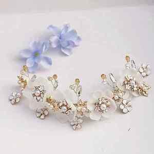 Wedding Bridal Pearl Flower Crystal Gold Tiara Headpiece Hair Accessories