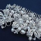 Vintage Style Flower Faux Pearl Rhinestone Crystal Hair Piece Comb Headpiece