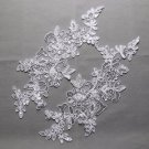 Bridal Wedding White/Off White Flower Sequin Embroidered Lace Applique Pair DIY