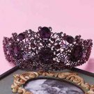 Victorian Wedding Bridal Purple Crystal Crown Headpiece Hair Accessories