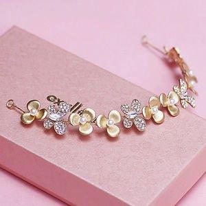 Wedding Bridal Gold Flower Pearl Crystal Tiara Headpiece Hair Accessories