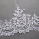 Bridal Wedding Off White Ivory Embroidered Lace Trim Tulle Veil trim Per Meter