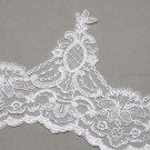 Vintage Bridal Wedding Off White Embroidered Flower Lace Trim Veil Per Meter