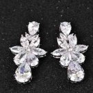 Bride Bridesmaids Wedding Star Teardrop Zircon Platinum Plated Stud Earrings