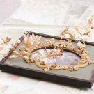 Wedding Bridal Vintage Pearl Crystal Gold Grasshopper Tiara Headpiece Hair Piece