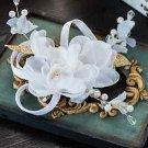 Wedding Bridal White Gold Organza Flower Faux Pearl Leaf Hair Clip