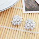 Bride Bridesmaids Wedding Party Zircon Platinum Plated Stud Earrings