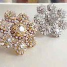 35mm Silver Or Gold Tone Rhinestone Crystal Sandals Shoe Charm buckle Pair