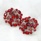 Floral Red Rhinestone Crystal Wedding Bridal Shoe Clips Pair