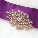 "3.5"" Faux Pearl Rose Gold Beaded Rhinestone Crystal Wedding Garter Applique"