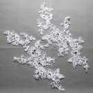 White Bridal Wedding Sequin Flower Motif Sew on Embroidered Lace Applique Pair