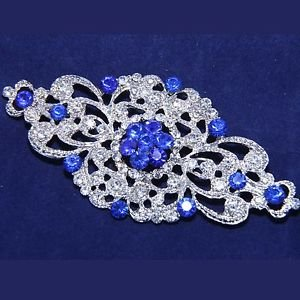 LOT OF 4 WEDDING BRIDAL RHINESTONE SASH VINTAGE ROYAL BLUE RHOMBUS BROOCH PIN