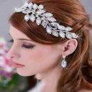 Bridal Wedding Feather Leaf Rhinestone Crystal Hair Chain Headpiece Clip