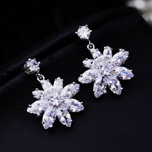 Snowflake Snow Wedding Jewelry Star Zircon Stud Platinum Plated Dangle Earrings