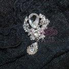 LOT OF 4 CRYSTAL BRIDAL WEDDING DANGLE EARRING PENDANT CRAFT BROOCH PIN