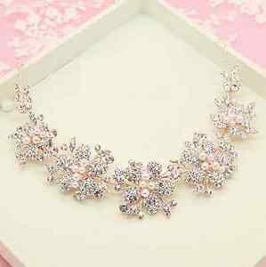 Wedding Bridal Vintage Flower Pearl Crystal Rose Gold Tiara Headpiece Hair Piece