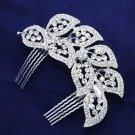 Wedding Bridal Leaf Feather Rhinestone Crystal Vintage Style Silver Tone Comb