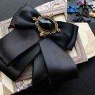 Vintage Mens Black Pre Tired Self Bow Tie Ribbon Brooch Pin Bowtie
