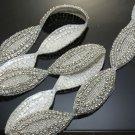 1 Yd Wedding Dress Sash Belt DIY Craft Oval Shape Iron Sew On Applique Trim