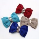 Fashion Crystal Color Velvet Ribbon Bow Butterfly Shoe Charm Clips