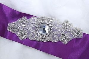 Vintage Style Glass Beaded Rhinestone Wedding Belt Iron Sew Patch Applique