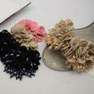 2 pcs Simple Fashion Color Black Khaki Velvet Beads Sandals Shoe Charms