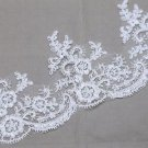 Vintage Bridal Wedding Off White Silver Thread Lace Trim Veil Per 1/2 Meter