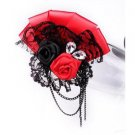 Vintage Style Red Color Ribbon Black Lace Wedding Men Ladies Brooch Pin Corsage