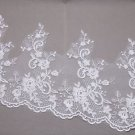 Silver Thread Bridal Wedding Off White Flower Lace Trim Veil Per 1/2 Meter DIY