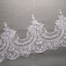 Bridal Wedding Off White Sequin Embroidered Lace Trim Veil trim Per Meter